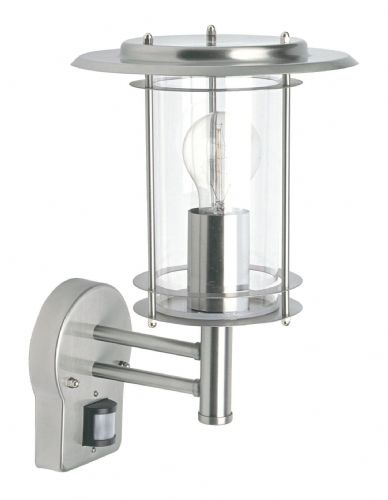 Polished stainless steel & clear Polycarbonate PIR Sensor Wall Light 4479782 by Endon